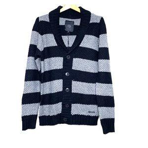 JACK & JONES Classic Stripe Knit Grandpa Sweater